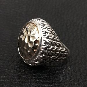 Vintage Artisan Sterling and Gold Oversized Ring